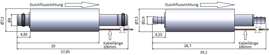 7,5mm Miniaturventil Abmessungen Edelstahlausführung