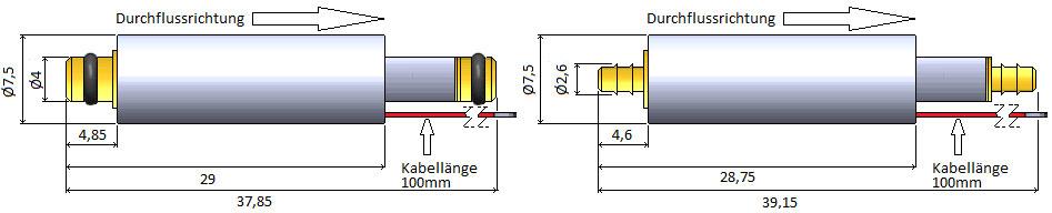 7,5mm Miniaturventil Abmessungen Messingausführung